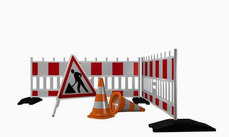 건설 사이트 및 트래픽 콘에 대한 경고와 함께 장벽. 3 차원 렌더링