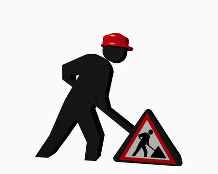 Construction site males with red safety helmet and construction site sign. 3d rendering
