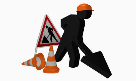 Construction site males with safety helmet, set-up and traffic cone. 3d rendering Stock Photo