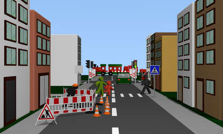 Street of a city with construction site, pedestrian crossing and pedestrians. 3d rendering