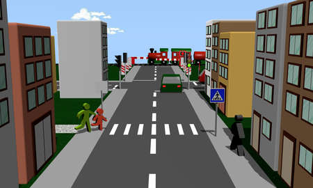 Neighborhood with pedestrians, cars, houses and traffic signs. 3d rendering