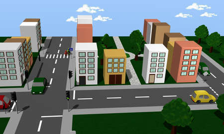 City view with traffic roads, junction, traffic light and park. 3d rendering