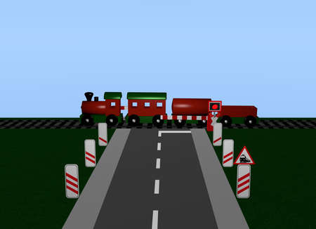 Train crossing with train, Andreaskreuz and road sign. 3d rendering Standard-Bild