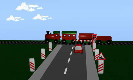Railway crossing with train, Andreaskreuz and distance sign. 3d rendering