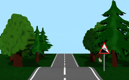 Country road with slopes, trees and bunnies. 3d rendering Standard-Bild
