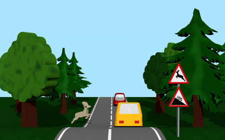 Country road with gradient and wild change. 3d rendering