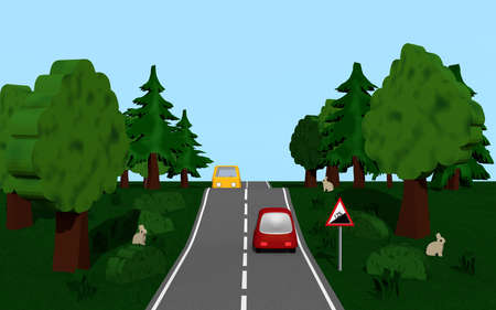 Highway with road sign slope, cars, trees and bunny. 3d rendering