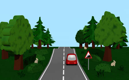 Highway with road sign slope, car, trees and bunny 3d Render