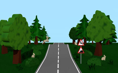 Highway with the road sign slope and wild change, trees, bunny and deer. 3d Rendering