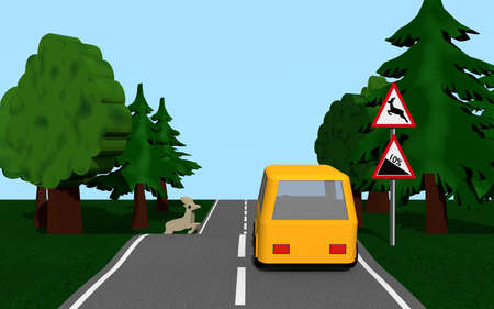 Country road with the road signs gradient and wild change. 3d rendering Standard-Bild