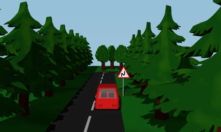 Illustration of the road situation double curve with road sign with red car. 3d rendering