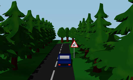 Illustration of the road situation double curve with road sign and blue car. 3d rendering