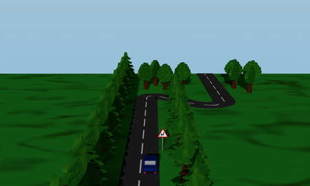 View of the road situation double curve with road sign and blue car. 3d rendering Standard-Bild
