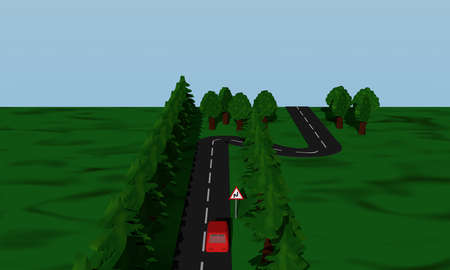 View of the road situation double curve with road sign and red car. 3d rendering