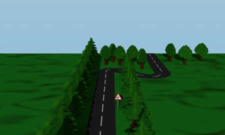 View of the road situation double curve with road sign. 3d rendering