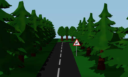 Presentation of the road situation double curve with road sign. 3d rendering Standard-Bild