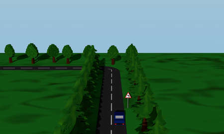 View of the road situation curve links with German road sign and blue car. 3d rendering
