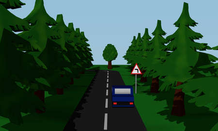 Illustration of the road situation curve Links with German road sign and blue car. 3d rendering
