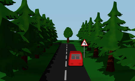 Illustration of the road situation curve links with German road sign and red car. 3d rendering