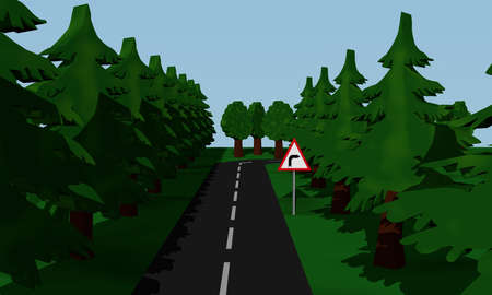 Illustration of the road situation curve right with German road sign. 3d rendering Standard-Bild