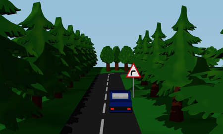 Illustration of the road situation curve right with German road sign and blue car. 3d rendering