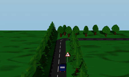 View of the road situation curve right with German road sign and blue car. 3d rendering Standard-Bild