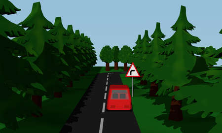 Illustration of the road situation curve right with German road sign and red car. 3d rendering