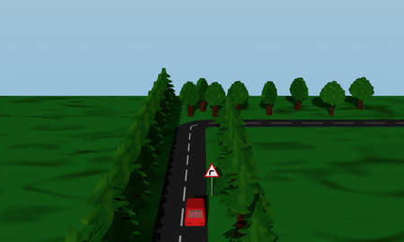 View of the road situation curve right with German road sign and red car. 3d rendering