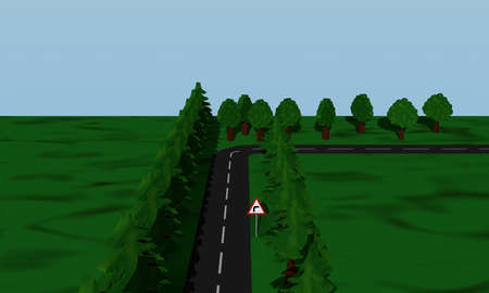View of the road situation curve right with German road sign. 3d rendering