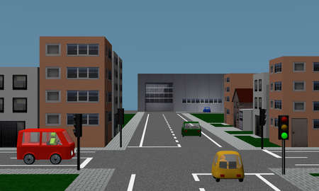 Road crossing with traffic lights, cars, houses and factory. 3d rendering