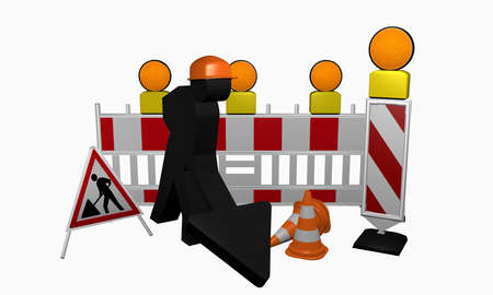 Construction worker with guide baton, safety barrier, warning light, traffic cone and set-up for a construction site. 3d rendering