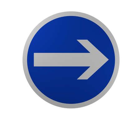 交通標識: 旅行の必須の方向、右側のここです。3 d レンダリング