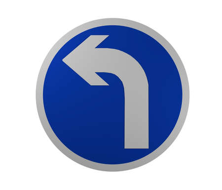 Traffic sign: Mandatory direction of travel, left. 3d rendering Standard-Bild