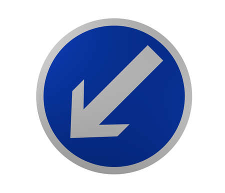 Traffic sign: Required driving direction, to the left. 3d rendering