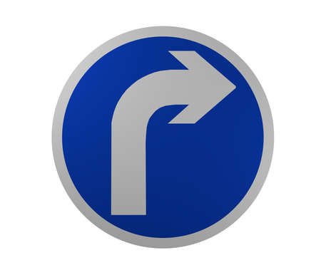 Traffic sign: Mandatory direction of travel, right. 3d rendering