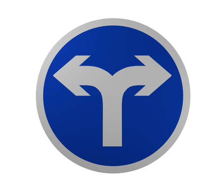 Traffic signs: Required direction of travel, right and left. 3d rendering