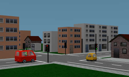Road crossing with traffic lights, cars and houses. 3d rendering