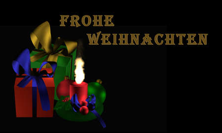 Atmospheric Christmas picture with presents and burning candle on black background with the text Merry Christmas in german. 3d illustration