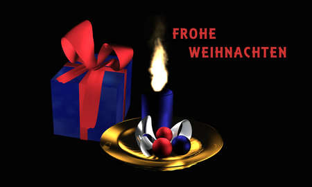 Atmospheric Christmas picture with gift and advent arrangement on black background with the text Merry Christmas in german. 3d rendering