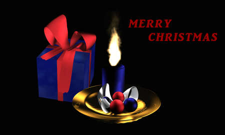 Atmospheric Christmas picture with gift and advent arrangement on a black background with the text Merry Christmas in English. 3d illustration