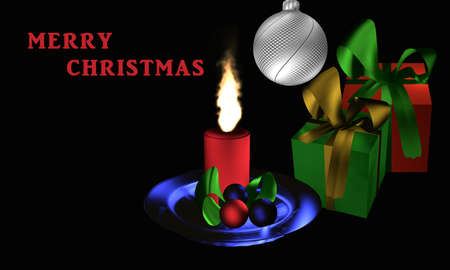 Atmospheric Christmas picture with presents and Christmas arrangement on a black background with the text Merry Christmas in English. 3d rendering