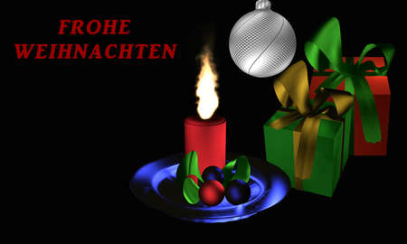 Atmospheric Christmas picture with presents and Christmas arrangement on black background with the text Merry Christmas in german. 3d rendering