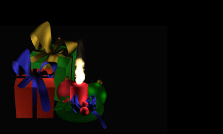 Moody Christmas image with presents and burning candle on black background. 3d rendering Standard-Bild