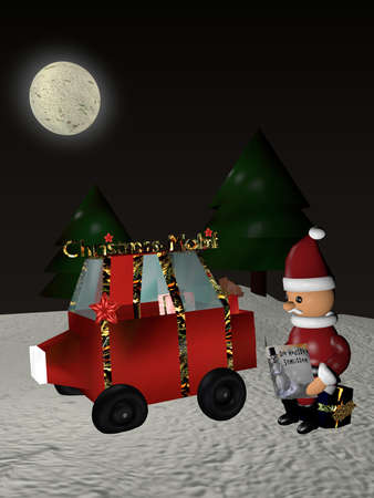 Santa Claus sits next to his flat-wheeled car on a gift and reads in a magazine with a sled. Text on the newspaper The latest sleigh in German. 3d rendering