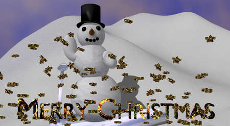waving snowman with the english text Merry Christmas