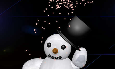 waving snowman with the english text Merry Christmas. 3d rendering Standard-Bild