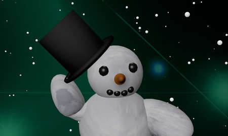 Snowman pulls his hat off hat in greeting. 3d rendering Standard-Bild