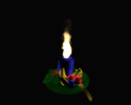 Christmas wreath with burning, blue candle on black background. 3d rendering Standard-Bild