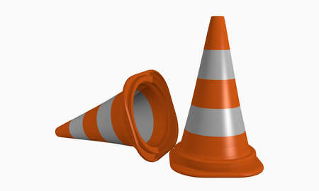 Conducting cone for danger-hazard protection in orange-white. 3d rendering