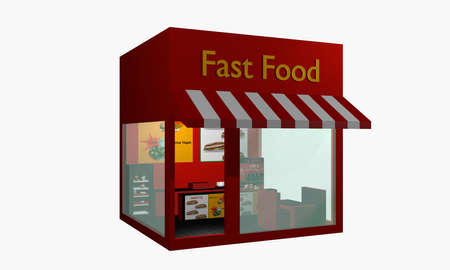 Fast food snack from right side view isolated on white. 3d rendering Standard-Bild
